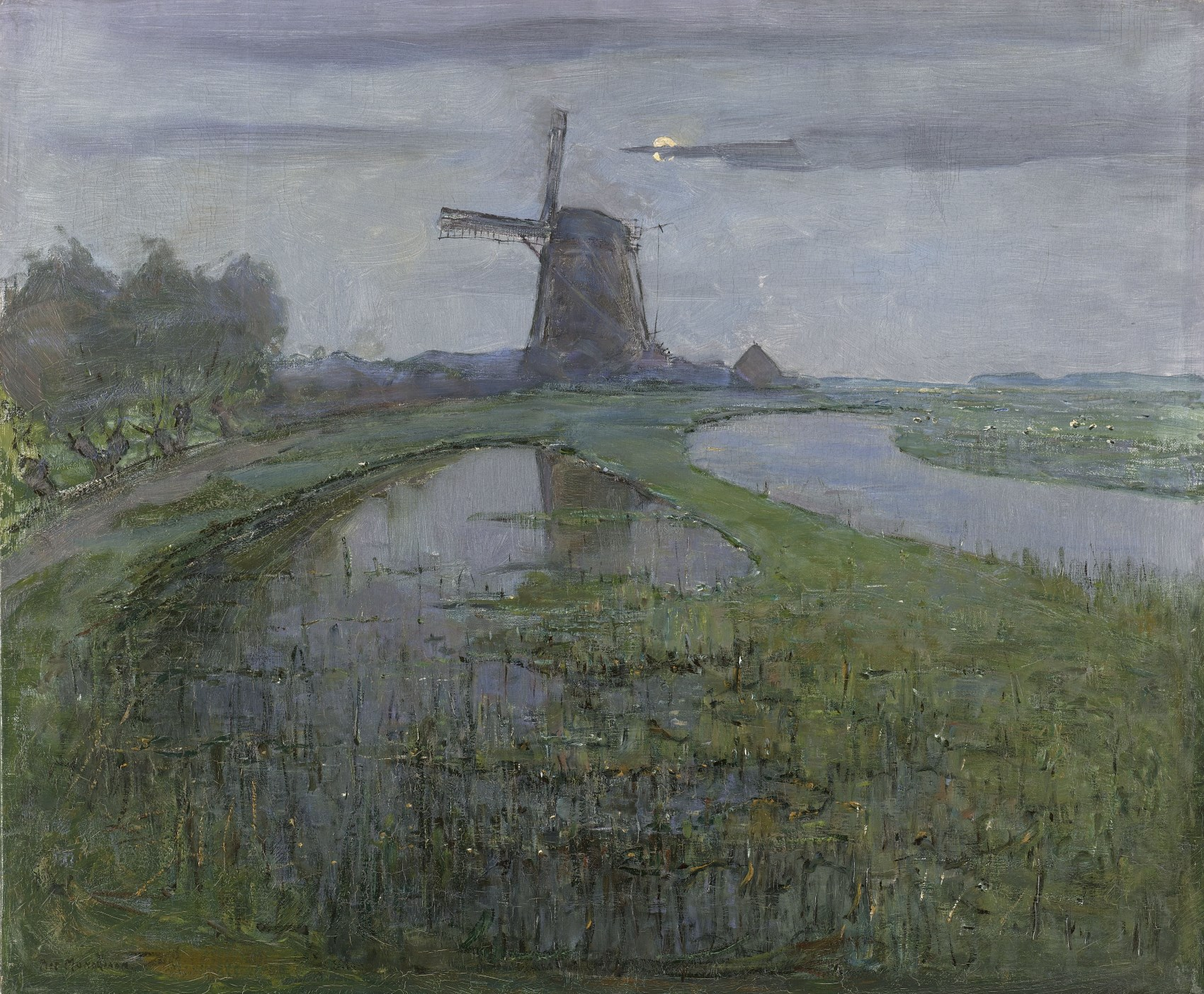 Oostzijdse mill along the river Gein by moonlight, c. 1903 (Rijksmuseum, Amsterdam)